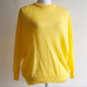 Vintage Sunny Yellow 3/4 Sleeve Sweater